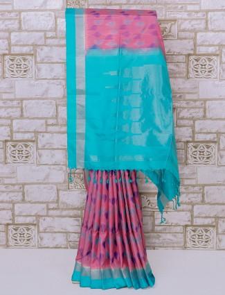 Pink color patola pattern silk saree