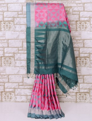 Pink color patola silk saree for party