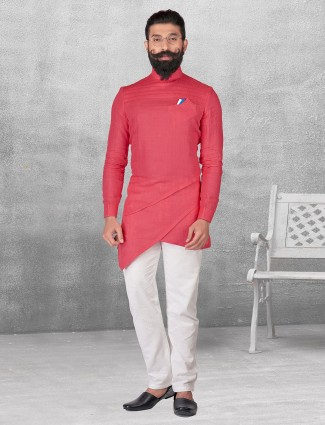 Pink color plain silk kurta suit
