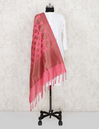 Pink color pretty silk fabric dupatta