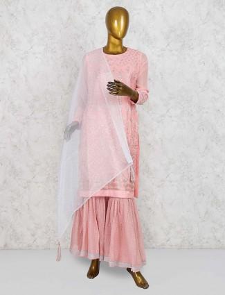 Pink color punjabi sharara suit in georgette