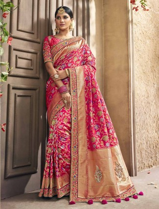 Pink color saree in banarasi silk fabric