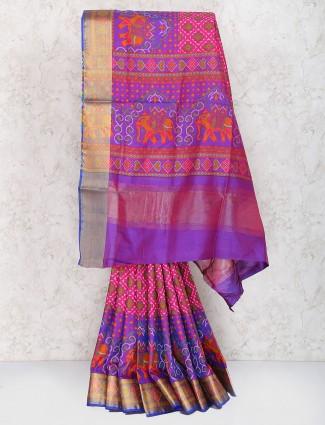 Pink color sari in semi silk