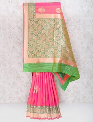 Pink color semi silk fabric wedding wear saree