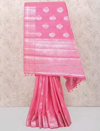 Pink color semi silk pretty saree