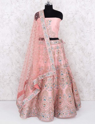 Pink color semi stitched lehenga choli in raw silk
