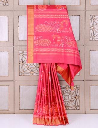 Pink color silk alluring wedding wear saree