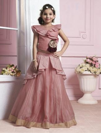 Pink color silk designer choli suit