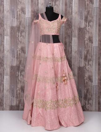 Pink color silk designer lehenga choli
