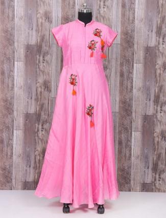 Pink color silk one piece salwar suit for festive