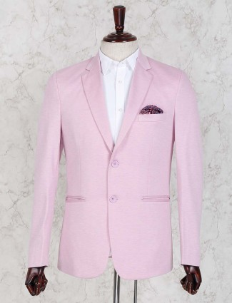 Pink color solid party wear blazer
