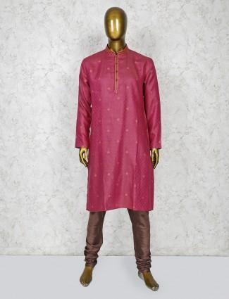 Pink color thread weaving kurta suit for festive