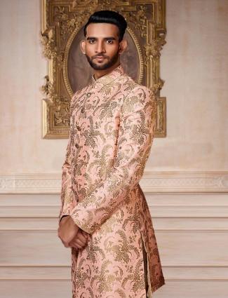 Pink color wedding wear indo western