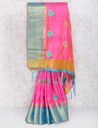 Pink colored cotton silk festive wear saree