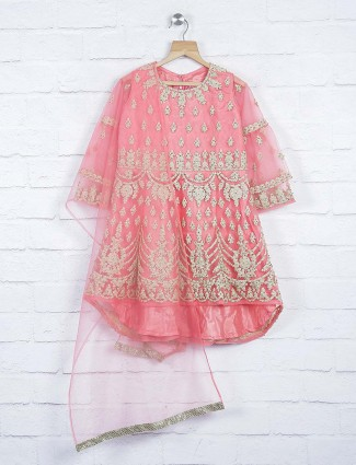 Pink colored designer wedding punjabi sharara suit