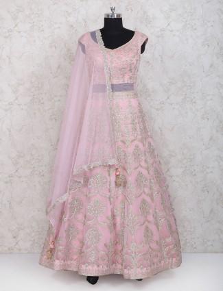 Pink colored floor length anarkali suit suit in net