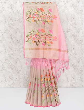 Pink colored wonderful saree