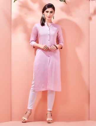 Pink Corduroy cotton collar kurti for upcoming festivals
