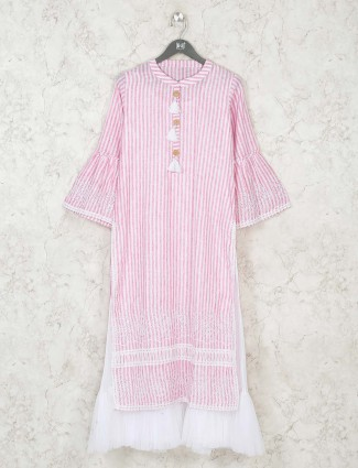 Pink cotton casual long kurti in stripe