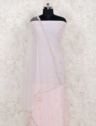 Pink cotton dress material for the wedding function