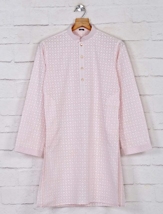 Pink cotton festive days kurta suit