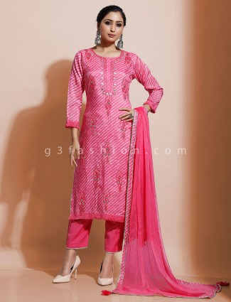 Pink cotton festive kurti set