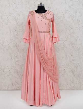Pink cotton floor length anarkali salwar kameez