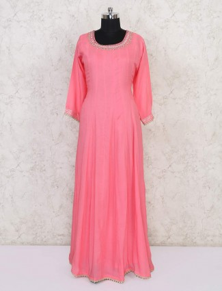 Pink cotton floor length anarkali suit in festive