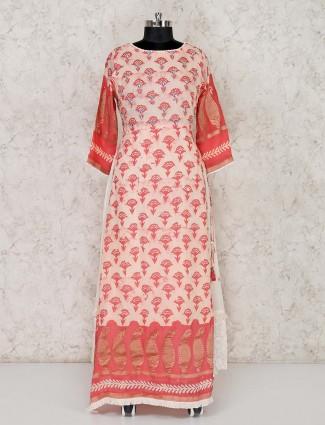 Pink cotton floor length salwar suit
