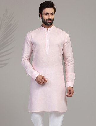 Pink cotton kurta for festive wear