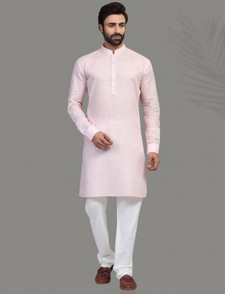 Pink cotton kurta suit festive wear
