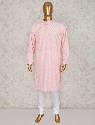 Pink cotton kurta with churidar