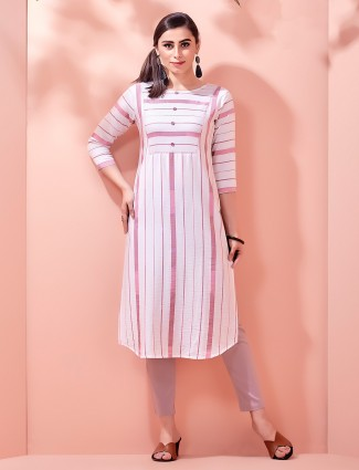 Pink cotton kurti for festivals with stripes