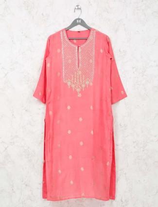 Pink cotton kurti in cotton