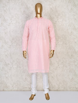 Pink cotton mens kurta suit festive wear
