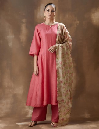 Pink Cotton Palazzo Salwar Suit For Festivals