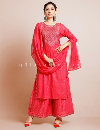 Pink cotton palazzo suit festive wear