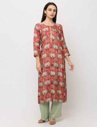 Pink cotton printed casual kurti