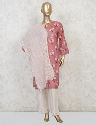 Pink cotton punjabi pant style salwar suit