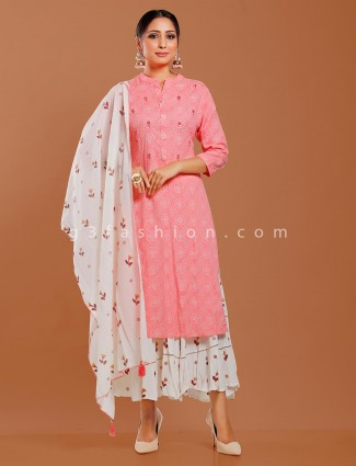 Pink cotton quarter sleeves punjabi sharara suit