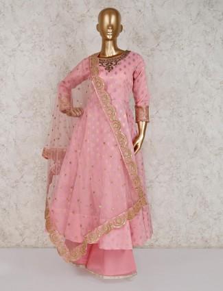 Pink cotton silk anarkali palazzo suit