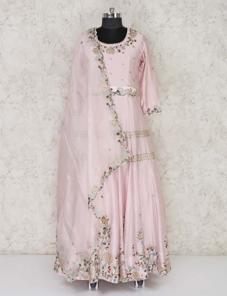 Pink cotton silk designer anarkali salwar dress
