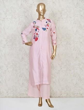 Pink cotton silk festiive wear salwar suit