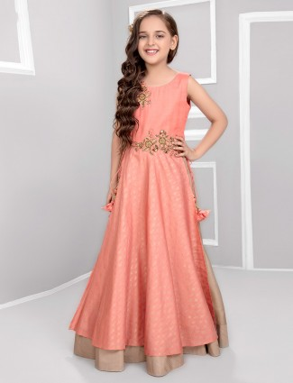 Pink cotton silk floor length gown