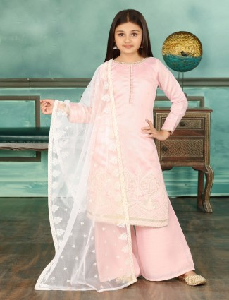 Pink cotton silk punjabi girls palazzo suit