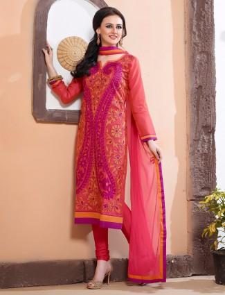 Pink cotton silk ready made festive wear salwar suit