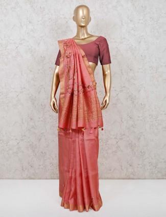 Pink cotton silk reception function saree