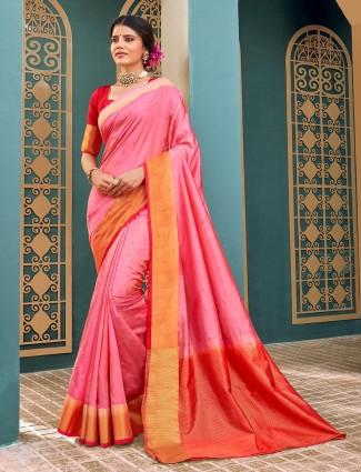 Pink cotton silk saree for festivals wear