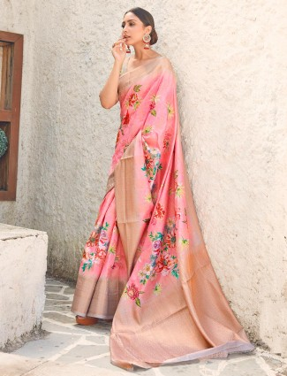 Pink cotton silk saree for wedding days