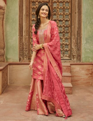 Pink cotton silk sharara set for festivals